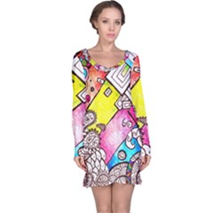 Beautiful Colorful Doodle Long Sleeve Nightdress