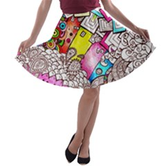 Beautiful Colorful Doodle A-line Skater Skirt