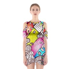 Beautiful Colorful Doodle Shoulder Cutout One Piece