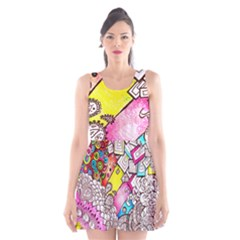 Beautiful Colorful Doodle Scoop Neck Skater Dress