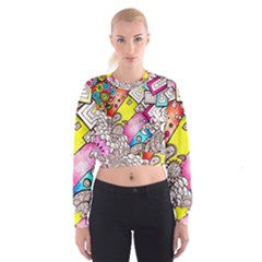 Beautiful Colorful Doodle Cropped Sweatshirt