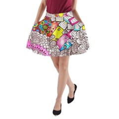 Beautiful Colorful Doodle A Line Pocket Skirt