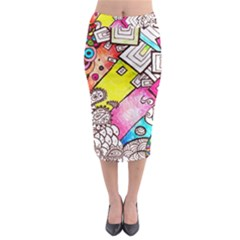 Beautiful Colorful Doodle Midi Pencil Skirt