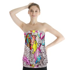 Beautiful Colorful Doodle Strapless Top