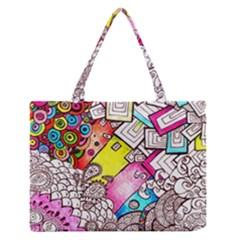 Beautiful Colorful Doodle Medium Zipper Tote Bag