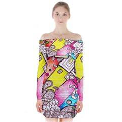 Beautiful Colorful Doodle Long Sleeve Off Shoulder Dress