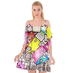 Beautiful Colorful Doodle Cutout Spaghetti Strap Chiffon Dress