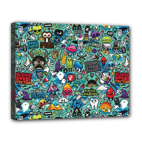 Colorful Drawings Pattern Canvas 14  X 11