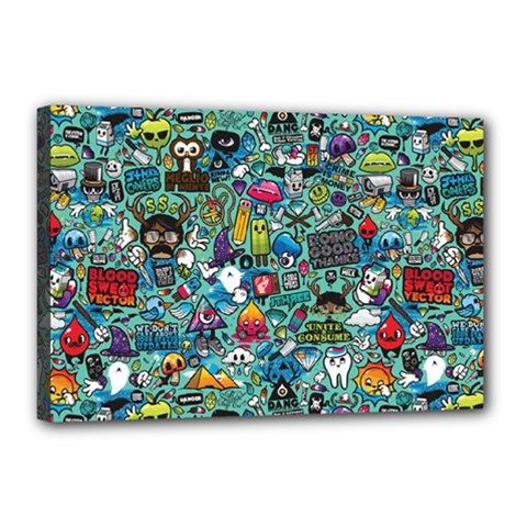 Colorful Drawings Pattern Canvas 18  X 12