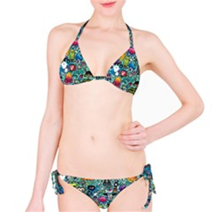 Colorful Drawings Pattern Bikini Set