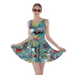 Colorful Drawings Pattern Skater Dress