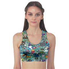 Colorful Drawings Pattern Sports Bra
