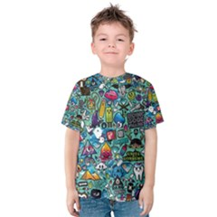 Colorful Drawings Pattern Kids  Cotton Tee