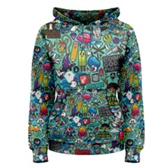 Colorful Drawings Pattern Women s Pullover Hoodie