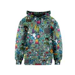 Colorful Drawings Pattern Kids  Zipper Hoodie