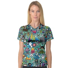 Colorful Drawings Pattern Women s V Neck Sport Mesh Tee