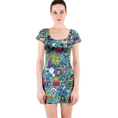 Colorful Drawings Pattern Short Sleeve Bodycon Dress