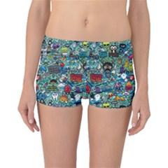 Colorful Drawings Pattern Boyleg Bikini Bottoms