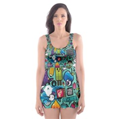 Colorful Drawings Pattern Skater Dress Swimsuit