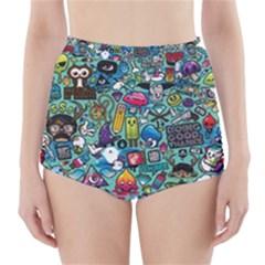 Colorful Drawings Pattern High Waisted Bikini Bottoms