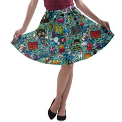 Colorful Drawings Pattern A-line Skater Skirt