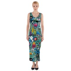 Colorful Drawings Pattern Fitted Maxi Dress