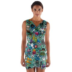 Colorful Drawings Pattern Wrap Front Bodycon Dress