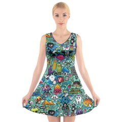 Colorful Drawings Pattern V Neck Sleeveless Skater Dress