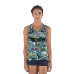 Colorful Drawings Pattern Women s Sport Tank Top