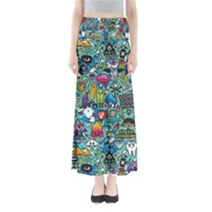 Colorful Drawings Pattern Maxi Skirts