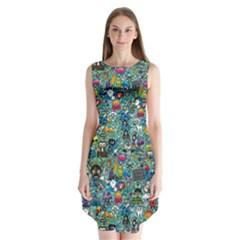 Colorful Drawings Pattern Sleeveless Chiffon Dress