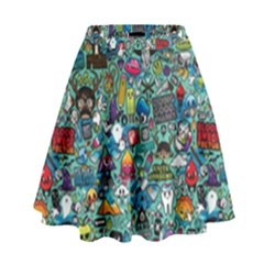 Colorful Drawings Pattern High Waist Skirt