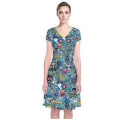 Colorful Drawings Pattern Short Sleeve Front Wrap Dress