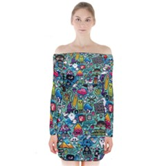 Colorful Drawings Pattern Long Sleeve Off Shoulder Dress
