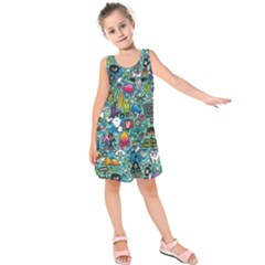 Colorful Drawings Pattern Kids  Sleeveless Dress
