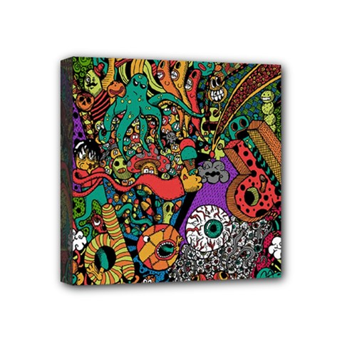 Monsters Colorful Doodle Mini Canvas 4  X 4