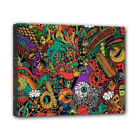 Monsters Colorful Doodle Canvas 10  X 8