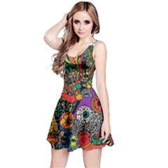 Monsters Colorful Doodle Reversible Sleeveless Dress