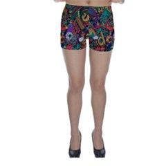 Monsters Colorful Doodle Skinny Shorts