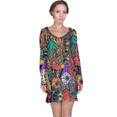 Monsters Colorful Doodle Long Sleeve Nightdress