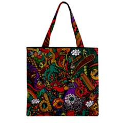 Monsters Colorful Doodle Zipper Grocery Tote Bag