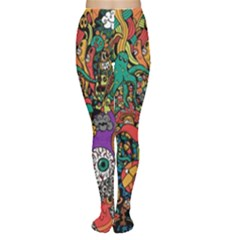 Monsters Colorful Doodle Women s Tights