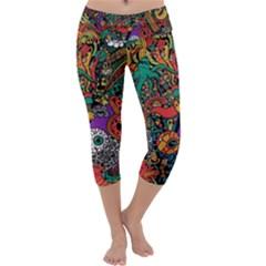 Monsters Colorful Doodle Capri Yoga Leggings