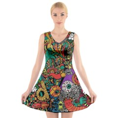 Monsters Colorful Doodle V Neck Sleeveless Skater Dress