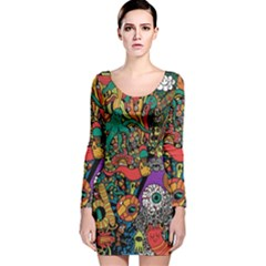 Monsters Colorful Doodle Long Sleeve Velvet Bodycon Dress