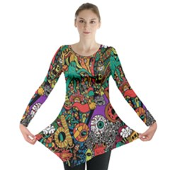 Monsters Colorful Doodle Long Sleeve Tunic