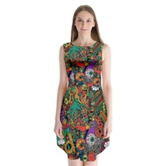 Monsters Colorful Doodle Sleeveless Chiffon Dress