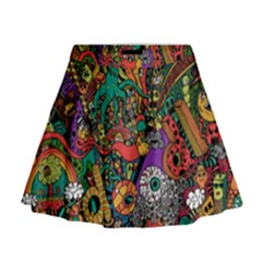 Monsters Colorful Doodle Mini Flare Skirt