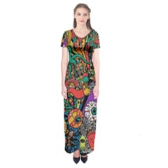 Monsters Colorful Doodle Short Sleeve Maxi Dress