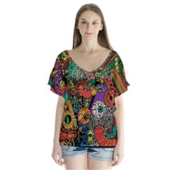 Monsters Colorful Doodle Flutter Sleeve Top